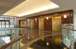 stained concrete floors in office lobby